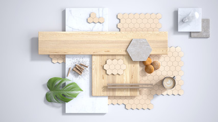 Minimal white background, copy space, marble slab, wooden planks, cutting board, mosaic tiles, plant leaf, cappuccino, cookies, cinnamon. Kitchen interior design concept, mood board