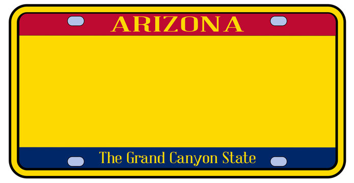 Blank Arizona State License Plate
