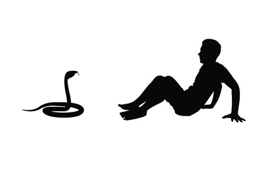 Young man with snake silhouette vector