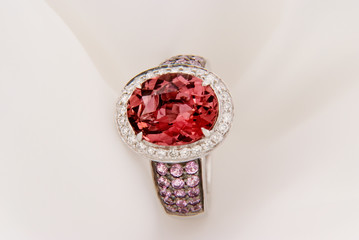 White Gold Ring With Pink Tourmaline And Diamonds