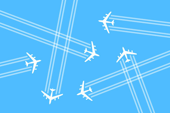 Airspace is busy and overcrowded by crowd of airplanes, aeroplanes and planes. Aviation, aerial traffic / transportation and danger of collision and crash. Vector illustration.