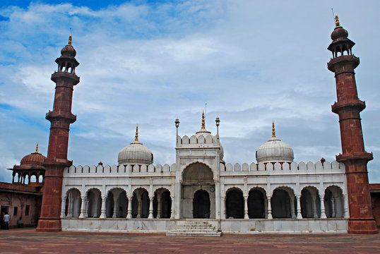 Front view of Moti Masjid, Bhopal Madhya Pradesh, India. Moti Masjid built by Sikander Begum in 1860.