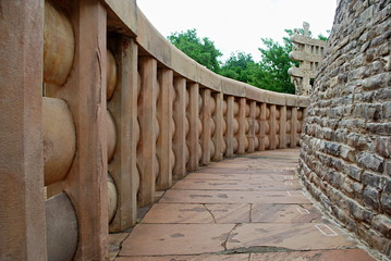 A curve way on Stupa, Sanchi, Madhya Pradesh, India.
