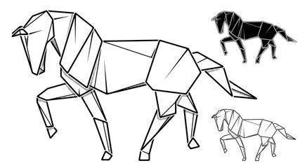 Image of paper horse origami (contour drawing by line).