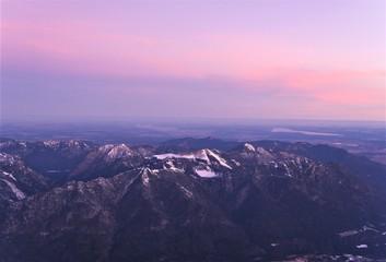 Türaufkleber Flieder Sonnenaufgang auf der Zugspitze