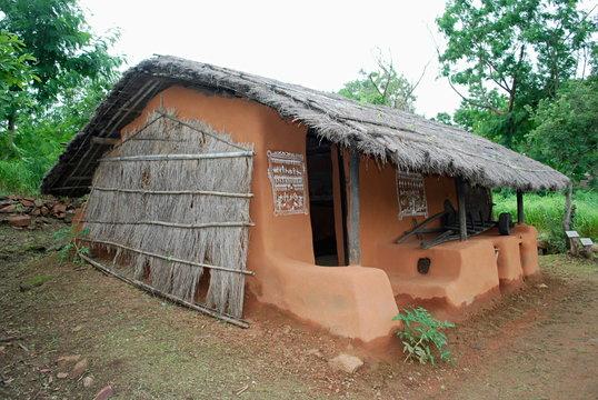 Hut of Kota Tribal. Manav Sangrahalaya, Bhopal, Madhya Pradesh, India. Kota is one of the three major tribal groups of Nilgiris.