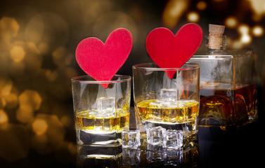 Türaufkleber Bekannte Orte in Asien Whiskey and hearts against bokeh, clinking glasses for Valentine's Day