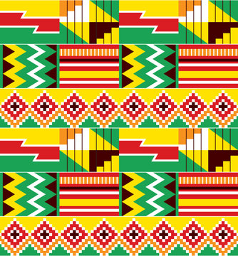 African tribal design Kente nwentoma textiles style vector seamless design, zigazg geometric pattern inspired by Ghana traditional cloths