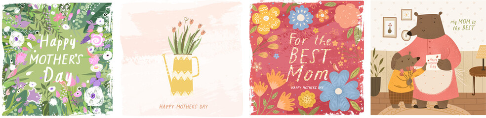 Happy Mother's Day! Vector cute illustrations: floral background and ornament; a vase of flowers and a family of bears congratulates his mother on a holiday. Drawings for a card, poster or postcard.