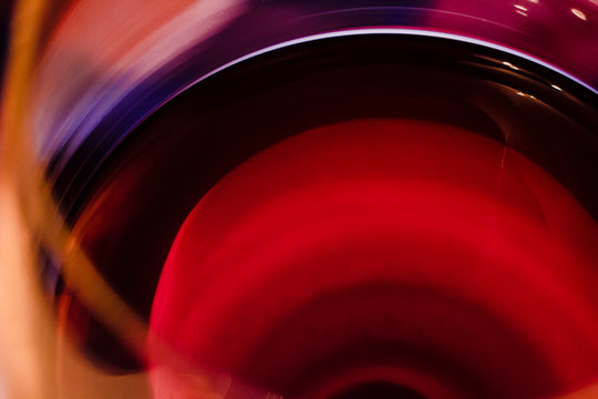 Glass of red wine macro close up