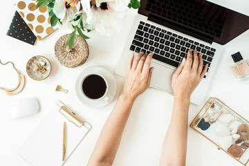 Woman hands work on laptop. Home office desk table workspace with laptop on white background. Flat...