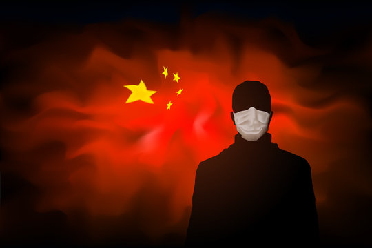 Coronavirus epidemic in china. Silhouette of a masked man on abstract Chinese flag background. Global viral pandemic. Design concept. Vector illustration