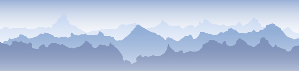 Beautiful Blue Mountain Landscape Banner Background with Fog