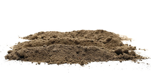 Dirt, soil pile with chunks isolated on white background