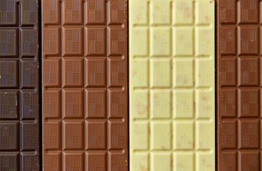 sweets, confectionery and food concept - milk, dark and white chocolate bar texture background