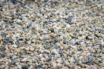 Multi-colored, smooth pebbles on the ground as a background.