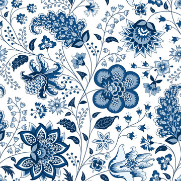 Chintz seamless pattern. Blue floral background. Indian Fabric with blue flowers
