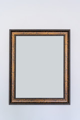 Wooden picture photo frame interior decoration with blank for copy space or text and advertising vintage retro style
