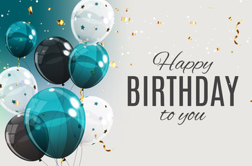 Fototapeta Color Glossy Happy Birthday Balloons Banner Background Vector Illustration obraz