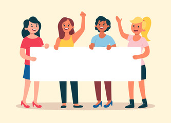 Young women holding a blank banner for text. Group with four women. Advertising banner. Flat cartoon illustration.