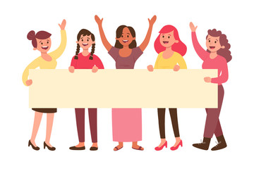 Young happy women holding a blank banner for text. Group with five women isolated on white background. Advertising banner. Flat cartoon illustration.