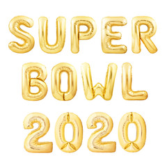 Words Super Bowl made of golden inflatable balloons isolated on white background. Helium balloons forming words Super Bowl