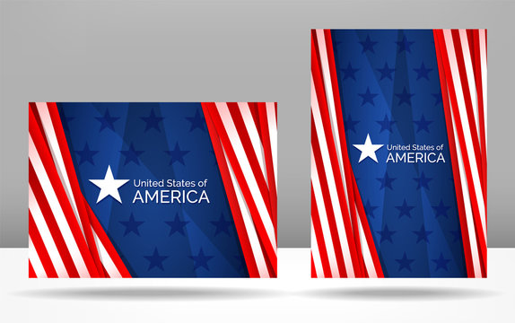 Set of patriotic vector illustration with Star and USA flag. United States of America flag abstract concept with red and blue and white colors background for banner or A4 vertical and horizontal cover