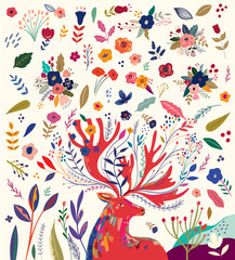 Fototapete - Beautiful creative art work illustration with flowers and deer