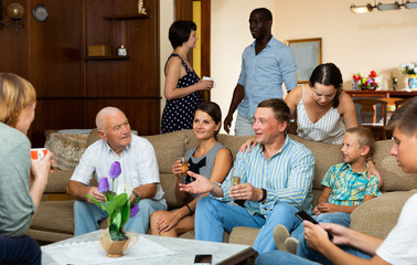 Multigenerational family  chatting and drinking wine and tea at home