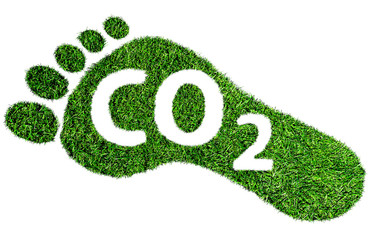 carbon footprint symbol or concept, barefoot footprint made of lush green grass with text CO2