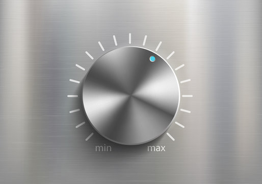 Metal knob dial for volume control. Sound settings