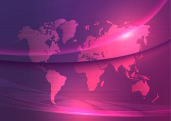 World map Speed Glowing Lights Modern Background violet purple vector