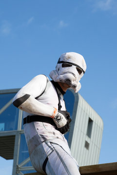 Stormtrooper man white disguise soldier figure from the popular Star Wars film starwars franchise