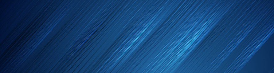 Fotobehang - Futuristic technology modern banner design with blue diagonal lines. Abstract geometric background. Vector illustration