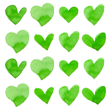 Watercolor illustration of green hearts for Valentine's day card set