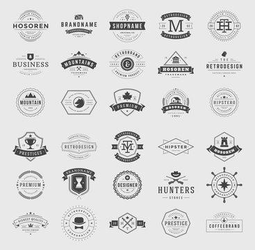 Retro vintage logotypes and badges set typopgraphic design elements vector illustration