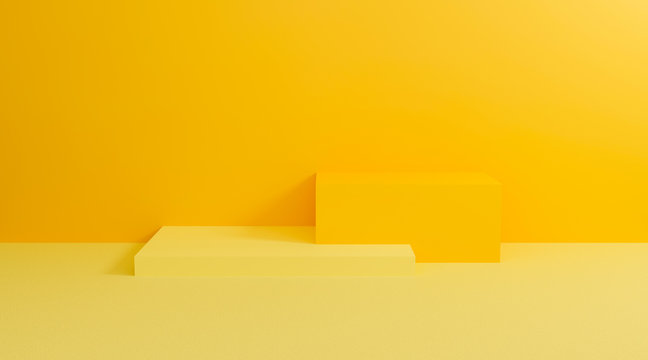 3d yellow podium. Abstract pastel on wall background with geometric shape. Bright yellow cubes for promotion. 3d render design for display product and presentation on website. Creative idea minimal.