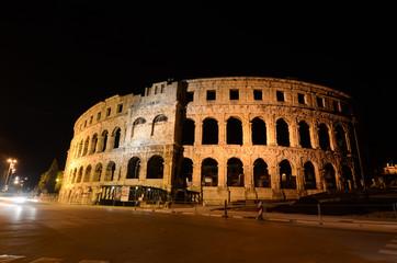 Arena, Pula, Istria, Croatia. Historic Roman era amphitheatre at night. Monument, cultural heritage and famous landmark. Popular tourist destination. Pulska Arena