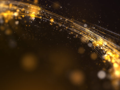 Gold awards with particles stripe background.