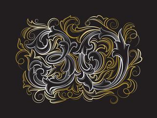 Elegant 30 years anniversary baroque victorian style logo template