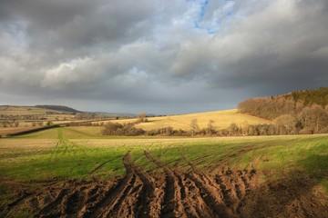 Farmland at Brockhampton near Winchcombe, Cotswolds, Gloucestershire, England