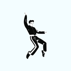 silhouette of a man jumping. The man is dancing picture. Elvis. Black and White silhouette. Rock 'n' roll.  Man isolated on white.