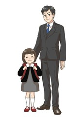 A Japanese elementary school girl and her father