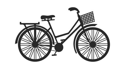 Vintage bicycle with basket silhouette