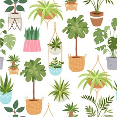 Home green potted plants vector seamless pattern. Pots with tropical cactuses, succulents and trees. Cartoon illustration of home plants isolated on white for textile, wrapping decoration.