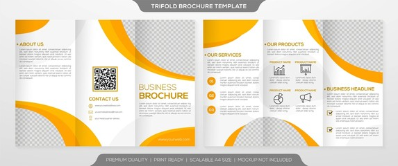 business trifold brochure template design with simple layout and minimalist style use for business profile and promotion kit