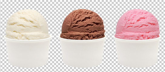 Chocolate, strawberry and vanilla ice cream scoops in white blank paper cup on isolated background. Including clipping path.