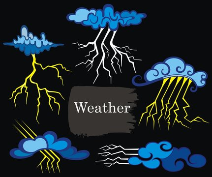 Vector weather forecast icons. Weather set