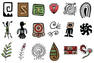 Vector Illustration of mayan symbol. Set of graphic elements. Native American and Indian Ethnic ornaments. Set of graphic elements
