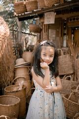 Portrait of Happy cute little girl